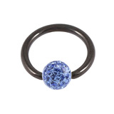 Black Steel BCR with Smooth Glitzy Ball 1.6mm, 8mm, 4mm, Sapphire Blue