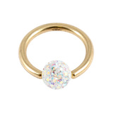 Zircon Steel BCR with Smooth Glitzy Ball (Gold colour PVD) 1.2mm, 8mm, 4mm, Crystal AB