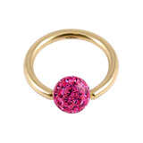 Zircon Steel BCR with Smooth Glitzy Ball (Gold colour PVD) 1.2mm, 10mm, 4mm, Fuchsia