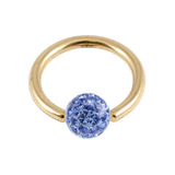 Zircon Steel BCR with Smooth Glitzy Ball (Gold colour PVD) 1.2mm, 10mm, 4mm, Sapphire Blue