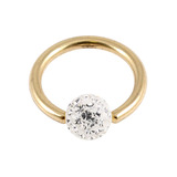 Zircon Steel BCR with Smooth Glitzy Ball (Gold colour PVD) 1.2mm, 12mm, 4mm, Crystal Clear