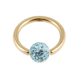 Zircon Steel BCR with Smooth Glitzy Ball (Gold colour PVD) 1.2mm, 12mm, 4mm, Light Blue