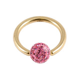 Zircon Steel BCR with Smooth Glitzy Ball (Gold colour PVD) 1.2mm, 12mm, 4mm, Pink