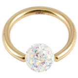 Zircon Steel BCR with Smooth Glitzy Ball (Gold colour PVD) 1.6mm, 8mm, 4mm, Crystal AB