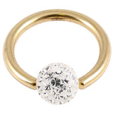 Zircon Steel BCR with Smooth Glitzy Ball (Gold colour PVD) 1.6mm, 8mm, 4mm, Crystal Clear