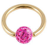 Zircon Steel BCR with Smooth Glitzy Ball (Gold colour PVD) 1.6mm, 8mm, 4mm, Fuchsia