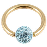 Zircon Steel BCR with Smooth Glitzy Ball (Gold colour PVD) 1.6mm, 8mm, 4mm, Light Blue