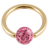 Zircon Steel BCR with Smooth Glitzy Ball (Gold colour PVD) 1.6mm, 8mm, 4mm, Pink