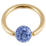 Zircon Steel BCR with Smooth Glitzy Ball (Gold colour PVD) 1.6mm, 8mm, 4mm, Sapphire Blue
