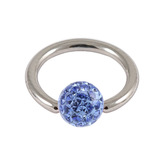 Steel BCR with Smooth Glitzy Ball 1mm, 10mm, Sapphire Blue
