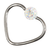 Steel Glitzy Continuous Heart Rings 1.0mm, 10mm, 4mm, Crystal AB