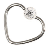 Steel Glitzy Continuous Heart Rings 1.0mm, 10mm, 4mm, Crystal Clear