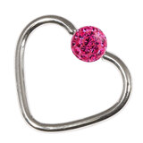 Steel Glitzy Continuous Heart Rings 1.2mm, 10mm, 4mm, Fuchsia