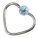 Steel Glitzy Continuous Heart Rings 1.0mm, 10mm, 4mm, Light Blue