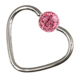 Steel Glitzy Continuous Heart Rings 1.2mm, 10mm, 4mm, Pink