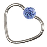 Steel Glitzy Continuous Heart Rings 1.0mm, 10mm, 4mm, Sapphire Blue