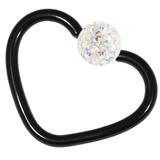 Black Steel Glitzy Continuous Heart Rings 1.0mm, 10mm, Crystal AB
