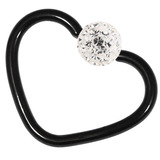 Black Steel Glitzy Continuous Heart Rings 1.2mm, 10mm, Crystal Clear
