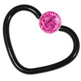 Black Steel Glitzy Continuous Heart Rings 1.0mm, 10mm, Fuchsia