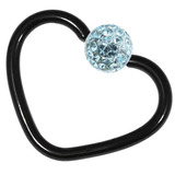 Black Steel Glitzy Continuous Heart Rings 1.2mm, 10mm, Light Blue