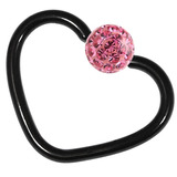 Black Steel Glitzy Continuous Heart Rings 1.2mm, 10mm, Pink