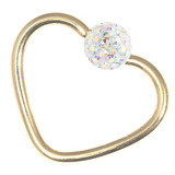 Zircon Steel Glitzy Continuous Heart Rings (Gold colour PVD) 1.2mm, 10mm, Crystal AB