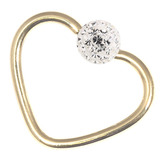 Zircon Steel Glitzy Continuous Heart Rings (Gold colour PVD) 1.0mm, 10mm, Crystal Clear