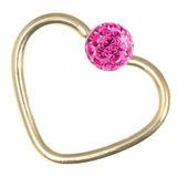 Zircon Steel Glitzy Continuous Heart Rings (Gold colour PVD) 1.2mm, 10mm, Fuchsia