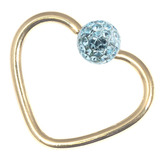 Zircon Steel Glitzy Continuous Heart Rings (Gold colour PVD) 1.2mm, 10mm, Light Blue