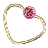 Zircon Steel Glitzy Continuous Heart Rings (Gold colour PVD) 1.2mm, 10mm, Pink
