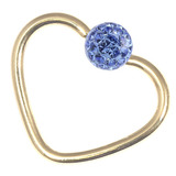 Zircon Steel Glitzy Continuous Heart Rings (Gold colour PVD) 1.2mm, 10mm, Sapphire Blue
