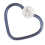 Titanium Coated Steel Glitzy Continuous Heart Rings 1.2mm, 10mm, Blue metal with Crystal AB