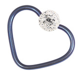 Titanium Coated Steel Glitzy Continuous Heart Rings 1.2mm, 10mm, Blue metal with Crystal Clear