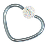 Titanium Coated Steel Glitzy Continuous Heart Rings 1.0mm, 10mm, Ice Blue metal with Crystal AB