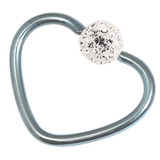 Titanium Coated Steel Glitzy Continuous Heart Rings 1.2mm, 10mm, Ice Blue metal with Crystal Clear