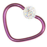 Titanium Coated Steel Glitzy Continuous Heart Rings 1.2mm, 10mm, Purple metal with Crystal AB