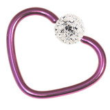 Titanium Coated Steel Glitzy Continuous Heart Rings 1.2mm, 10mm, Purple metal with Crystal Clear