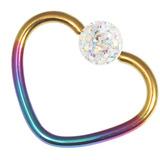 Titanium Coated Steel Glitzy Continuous Heart Rings 1.2mm, 10mm, Rainbow metal with Crystal AB
