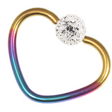 Titanium Coated Steel Glitzy Continuous Heart Rings 1.2mm, 10mm, Rainbow metal with Crystal Clear