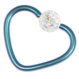 Titanium Coated Steel Glitzy Continuous Heart Rings 1.0mm, 10mm, Turquoise metal with Crystal AB
