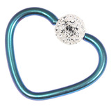 Titanium Coated Steel Glitzy Continuous Heart Rings 1.2mm, 10mm, Turquoise metal with Crystal Clear