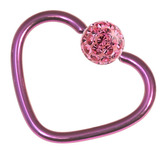 Titanium Coated Steel Glitzy Continuous Heart Rings 1.2mm, 10mm, Purple metal with Pink