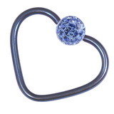 Titanium Coated Steel Glitzy Continuous Heart Rings 1.2mm, 10mm, Blue metal with Sapphire Blue