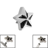 Steel Nautical Star for Internal Thread shafts in 1.6mm (1.2mm). Also fits Dermal Anchor Nautical Star