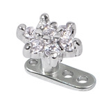 Titanium Dermal Anchor with Steel Jewelled Flower Tops 2.5mm, Crystal Clear
