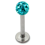 Smooth Glitzy Ball Labrets 1.6mm gauge 4mm ball 1.6mm, 10mm, 4mm ball, Turquoise