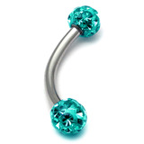 Smooth Glitzy Ball Curved Bar (4mm balls) 1.6mm, 12mm, 4mm, Turquoise
