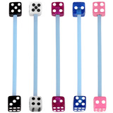 Bioflex Industrial Scaffold Barbells - Acrylic Dice 34 / Pack of 5 blue shafts with acrylic dice (5 colours) / 5