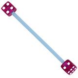 Bioflex Industrial Scaffold Barbells - Acrylic Dice 34 / Blue shaft with Purple Acrylic Dice / 5