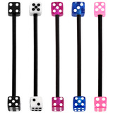 Bioflex Industrial Scaffold Barbells - Acrylic Dice 36 / Pack of 5 black shafts with acrylic dice (5 colours) / 5
